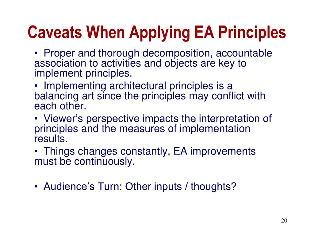Caveats When Applying EA Principles