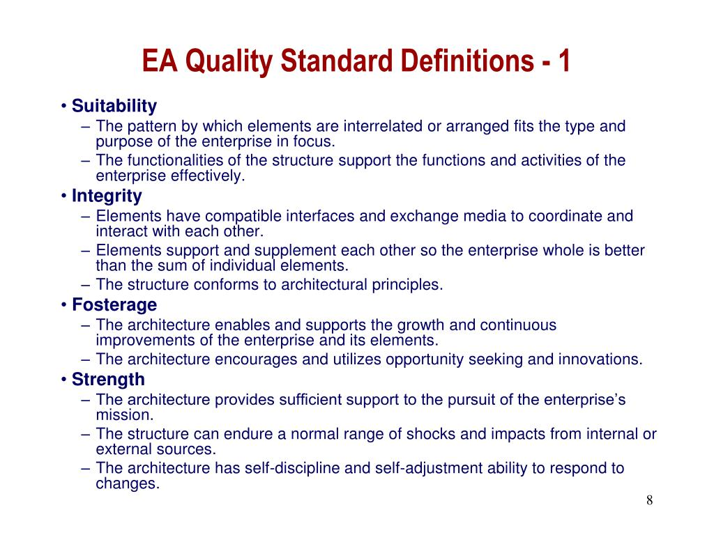 EA Quality Standard Definitions - 1