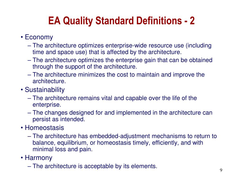 EA Quality Standard Definitions - 2