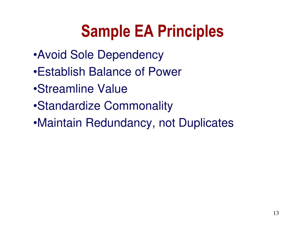 Sample EA Principles
