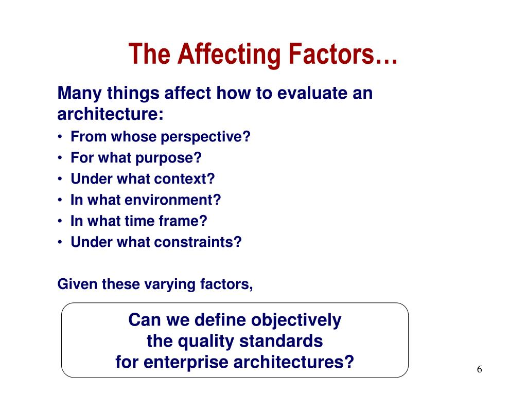 The Affecting Factors…