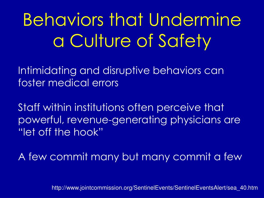 Behaviors that Undermine a Culture of Safety