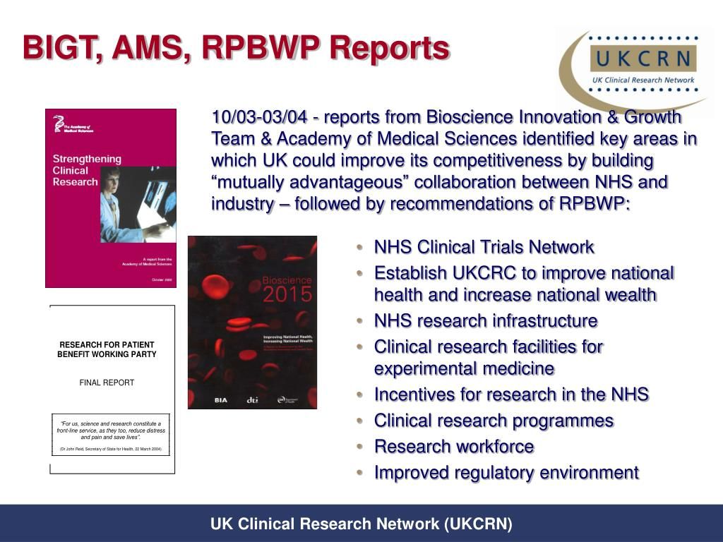BIGT, AMS, RPBWP Reports