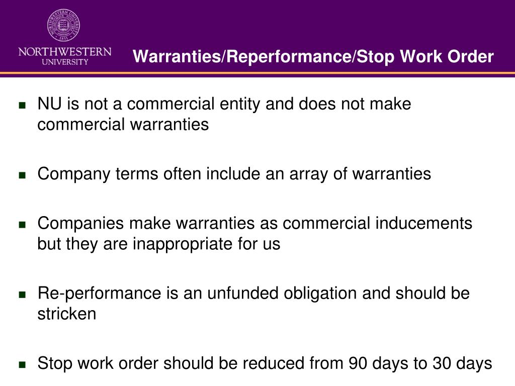 Warranties/Reperformance/Stop Work Order