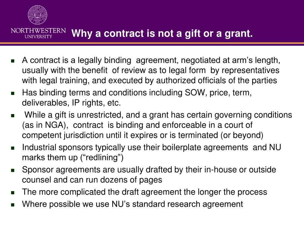Why a contract is not a gift or a grant.