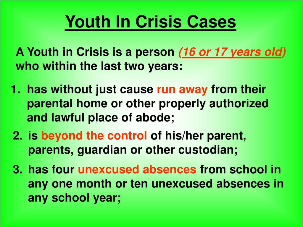 Youth In Crisis Cases