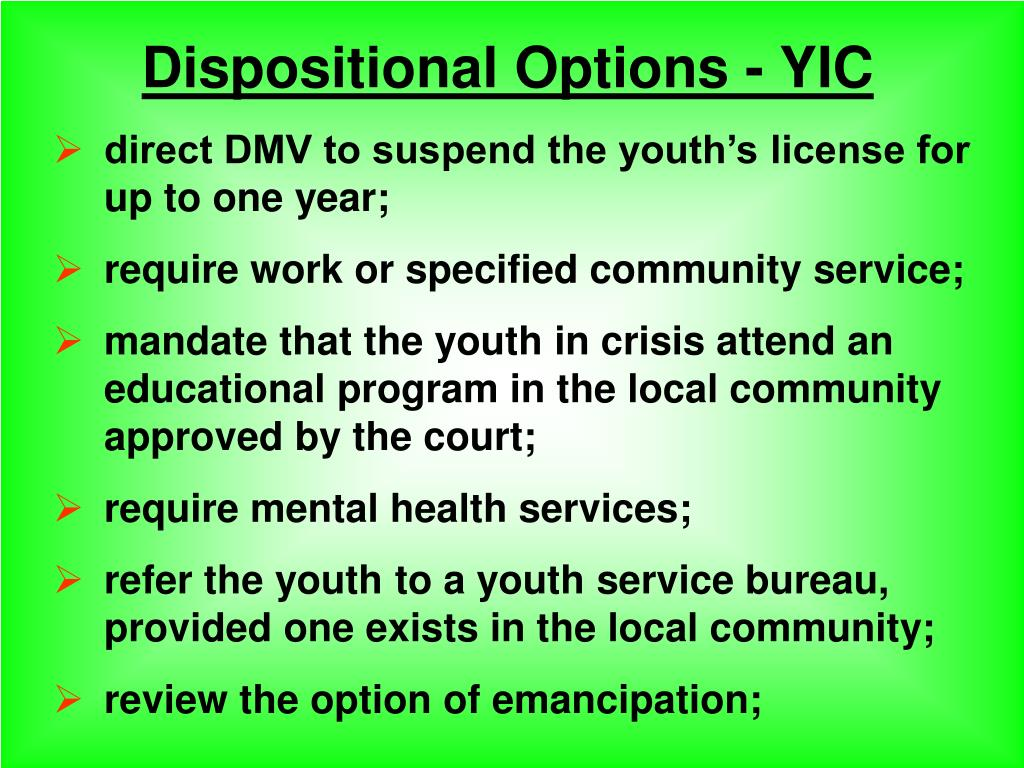 Dispositional Options - YIC
