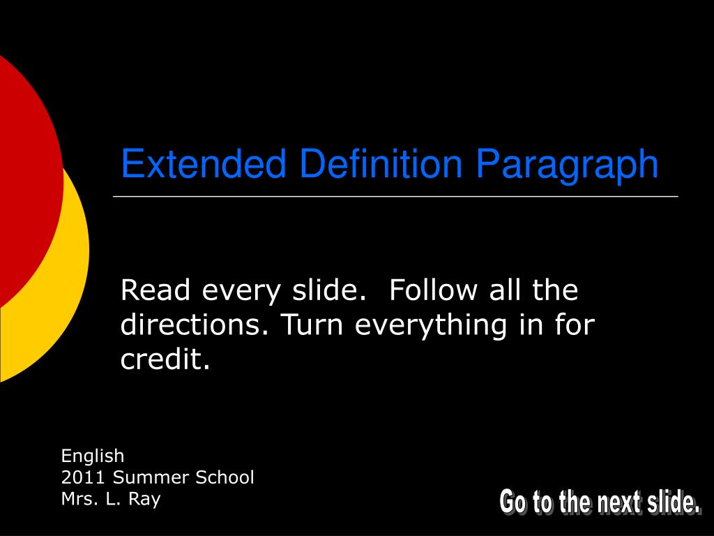 Extended Definition Paragraph