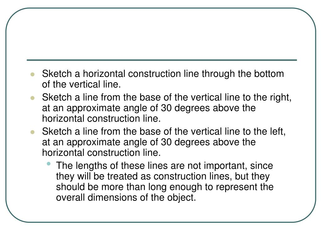 Sketch a horizontal construction line through the bottom of the vertical line.