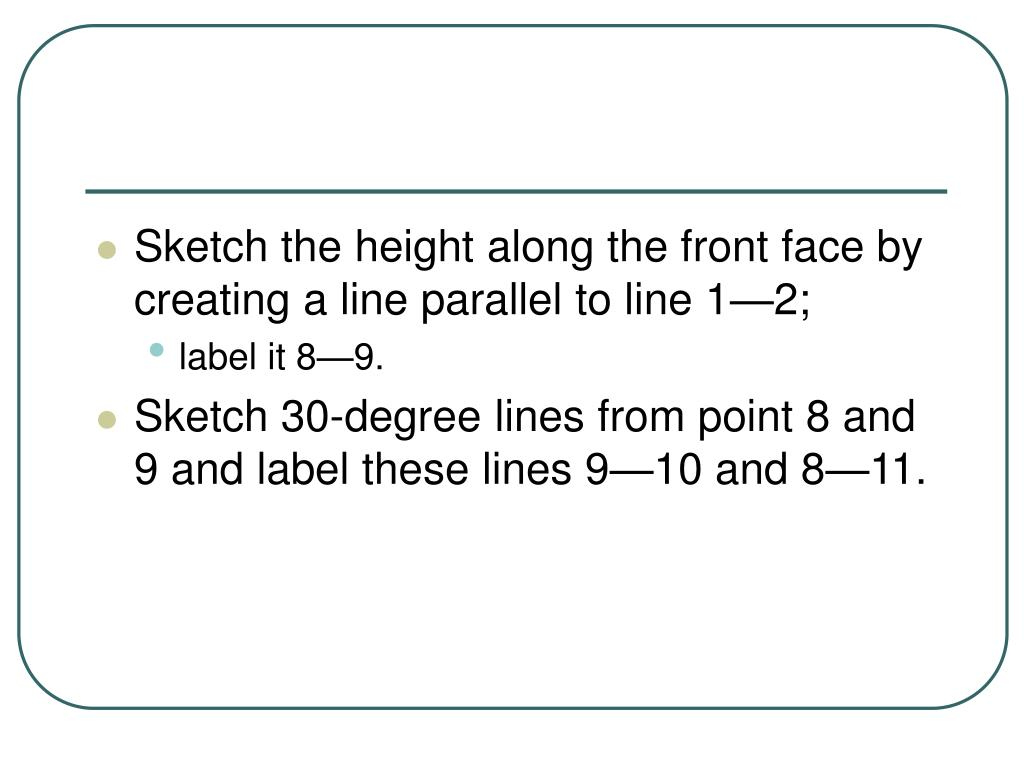 Sketch the height along the front face by creating a line parallel to line 1—2;