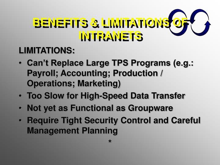 BENEFITS & LIMITATIONS OF INTRANETS