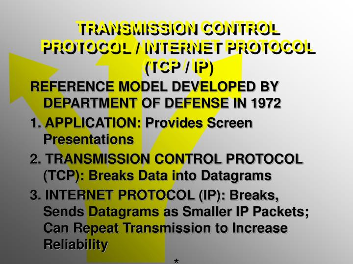 TRANSMISSION CONTROL PROTOCOL / INTERNET PROTOCOL (TCP / IP)