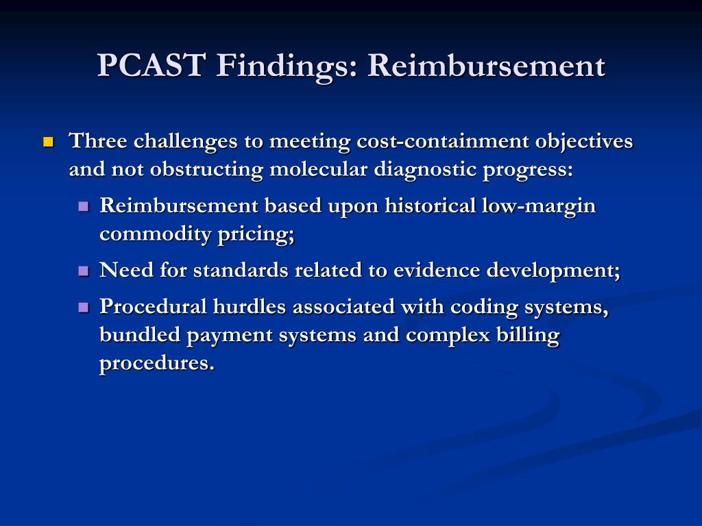 PCAST Findings: Reimbursement