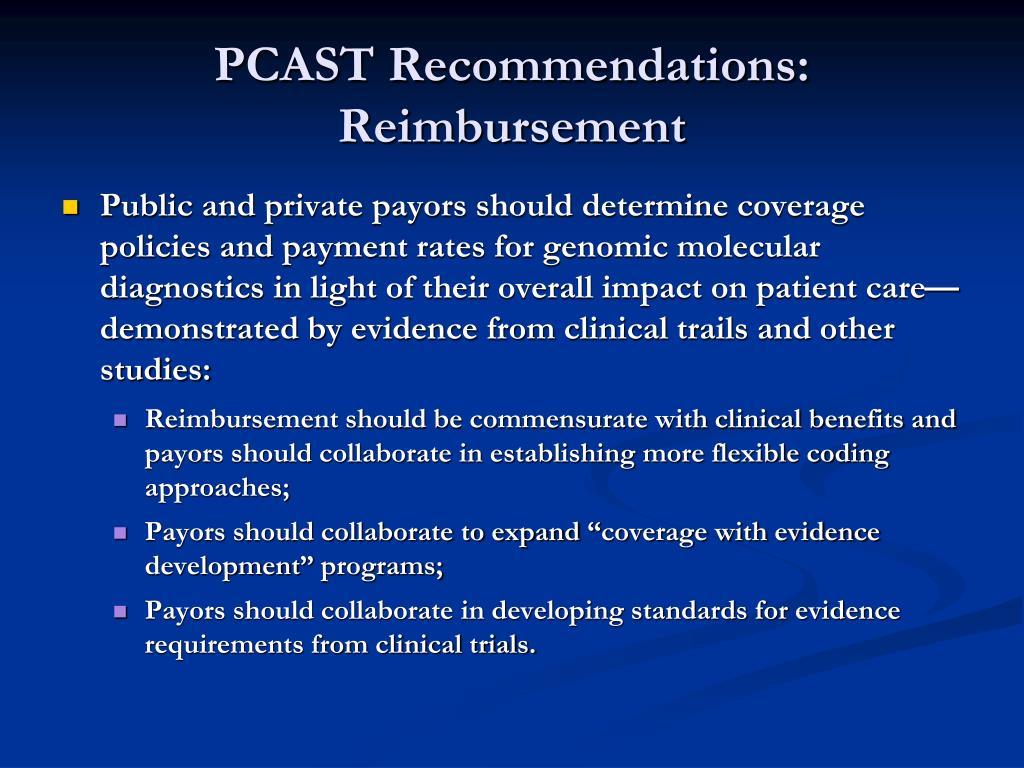 PCAST Recommendations: Reimbursement