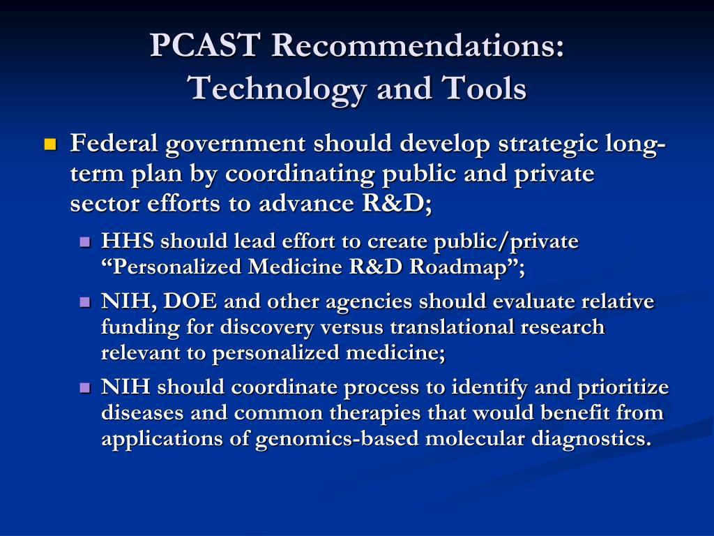 PCAST Recommendations: