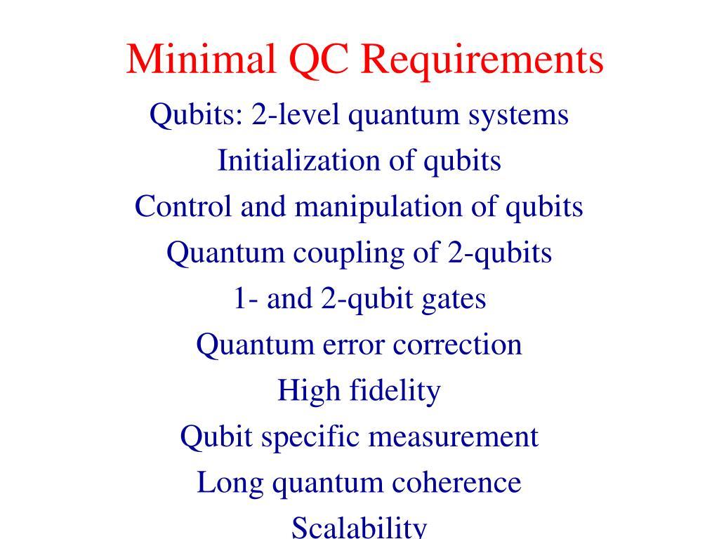Minimal QC Requirements