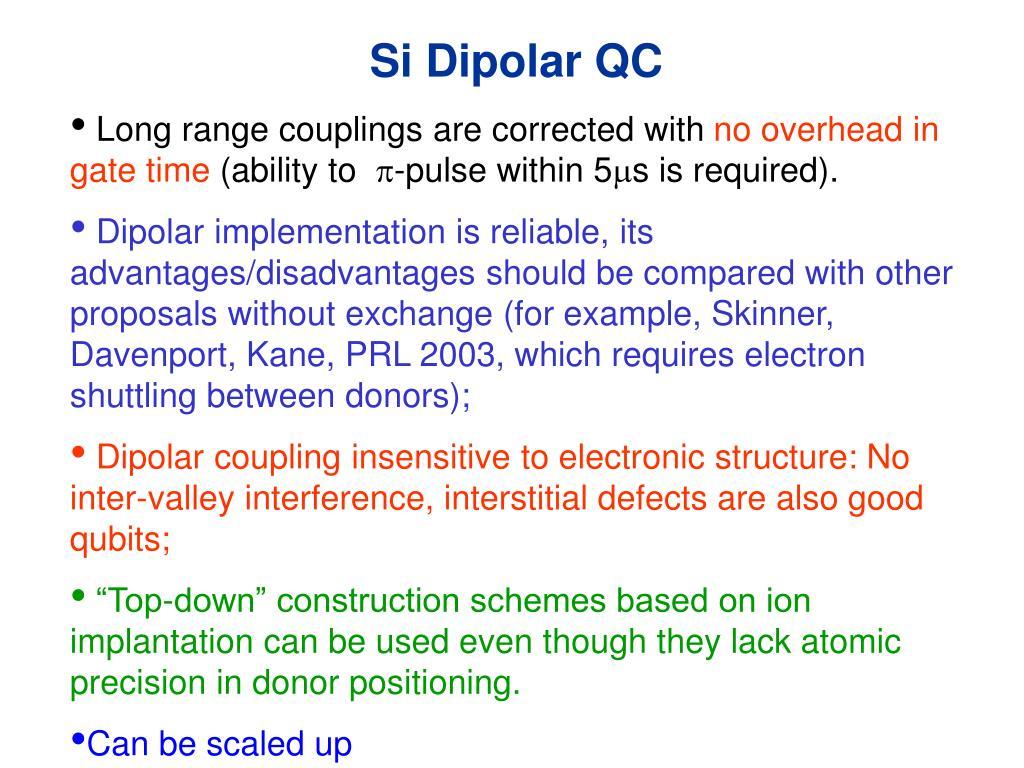 Si Dipolar QC