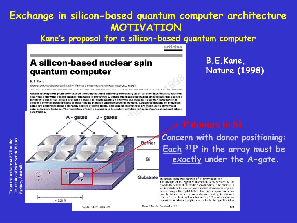 Exchange in silicon-based quantum computer architecture