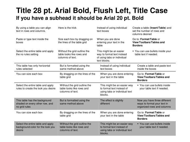 Title 28 pt. Arial Bold, Flush Left, Title Case