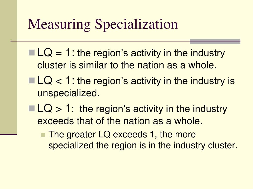 Measuring Specialization