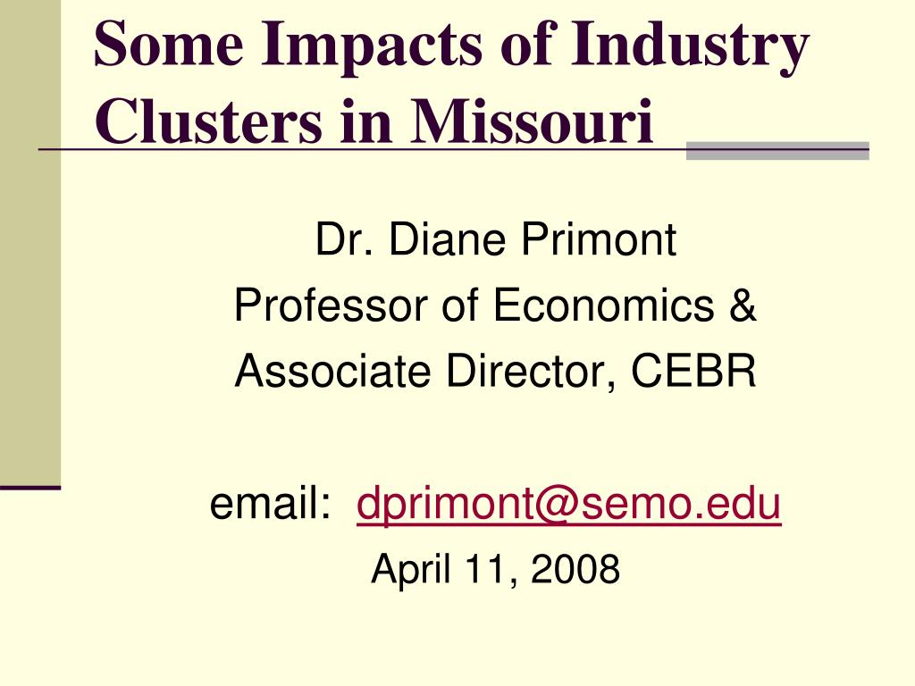 Some Impacts of Industry Clusters in Missouri