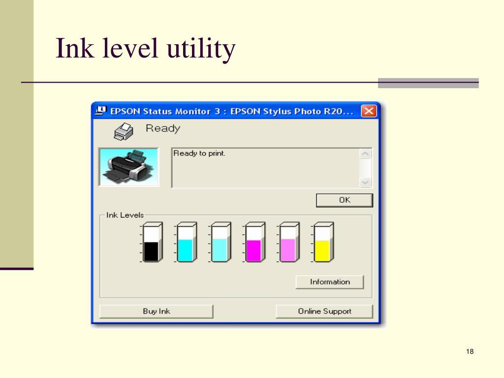 Ink level utility