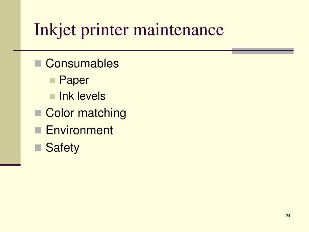 Inkjet printer maintenance