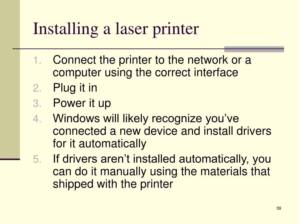Installing a laser printer