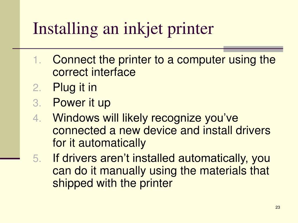 Installing an inkjet printer