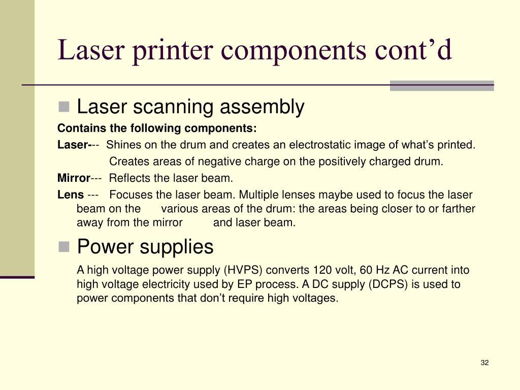 Laser printer components cont'd