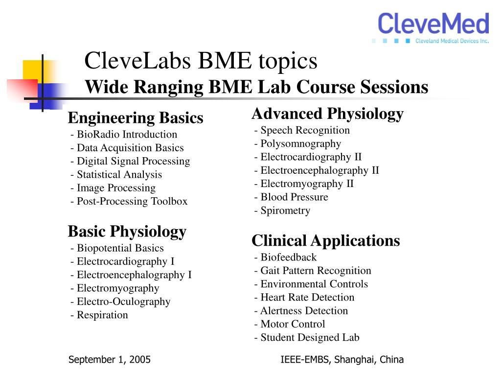 CleveLabs BME topics