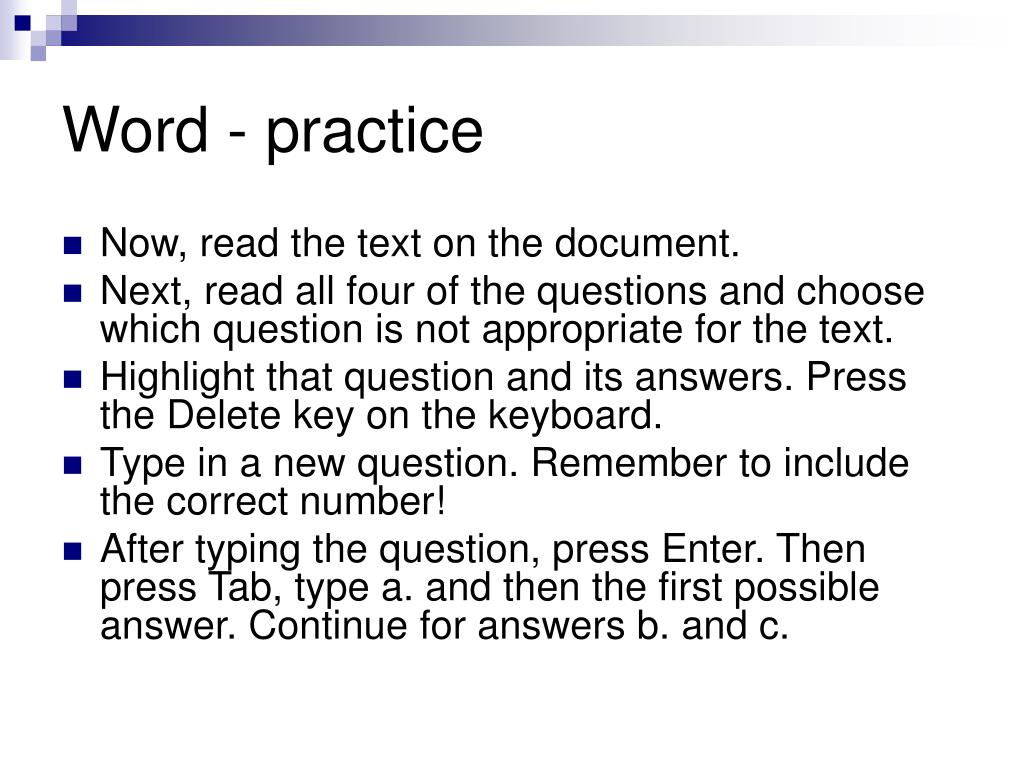 Word - practice