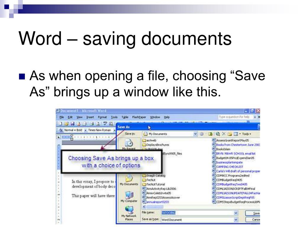 Word – saving documents