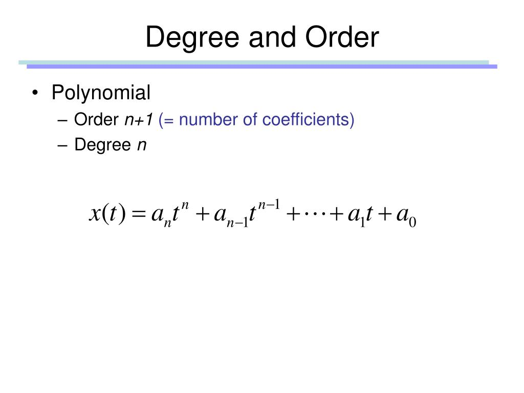 Degree and Order