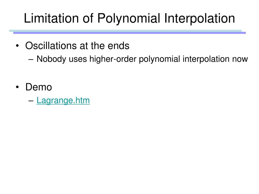 Limitation of Polynomial Interpolation