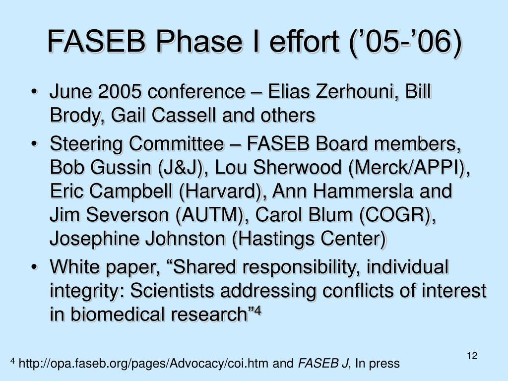 FASEB Phase I effort ('05-'06)