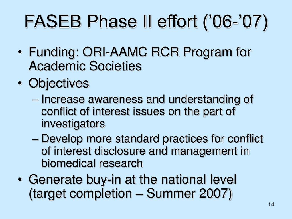FASEB Phase II effort ('06-'07)