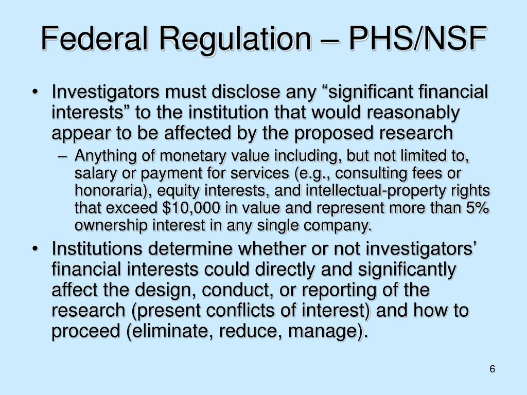 Federal Regulation – PHS/NSF