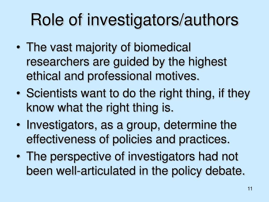 Role of investigators/authors