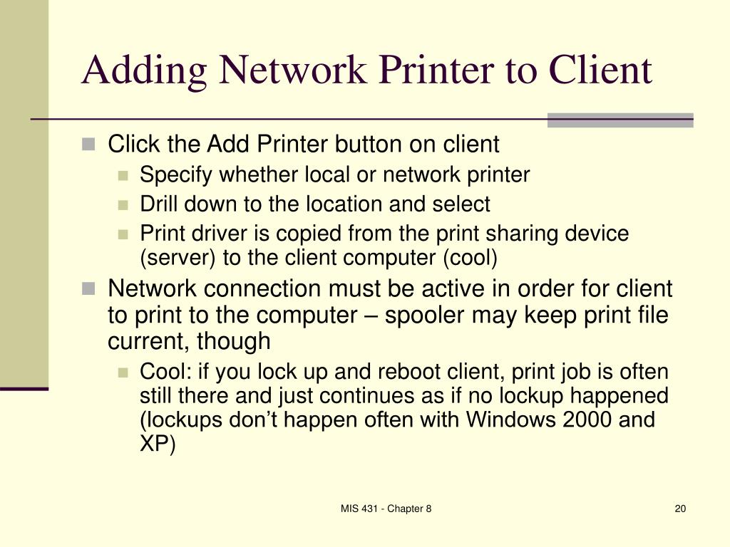 Adding Network Printer to Client