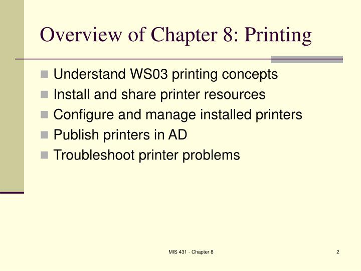 Overview of chapter 8 printing