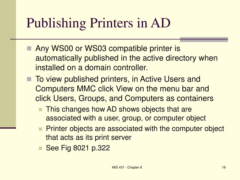 Publishing Printers in AD