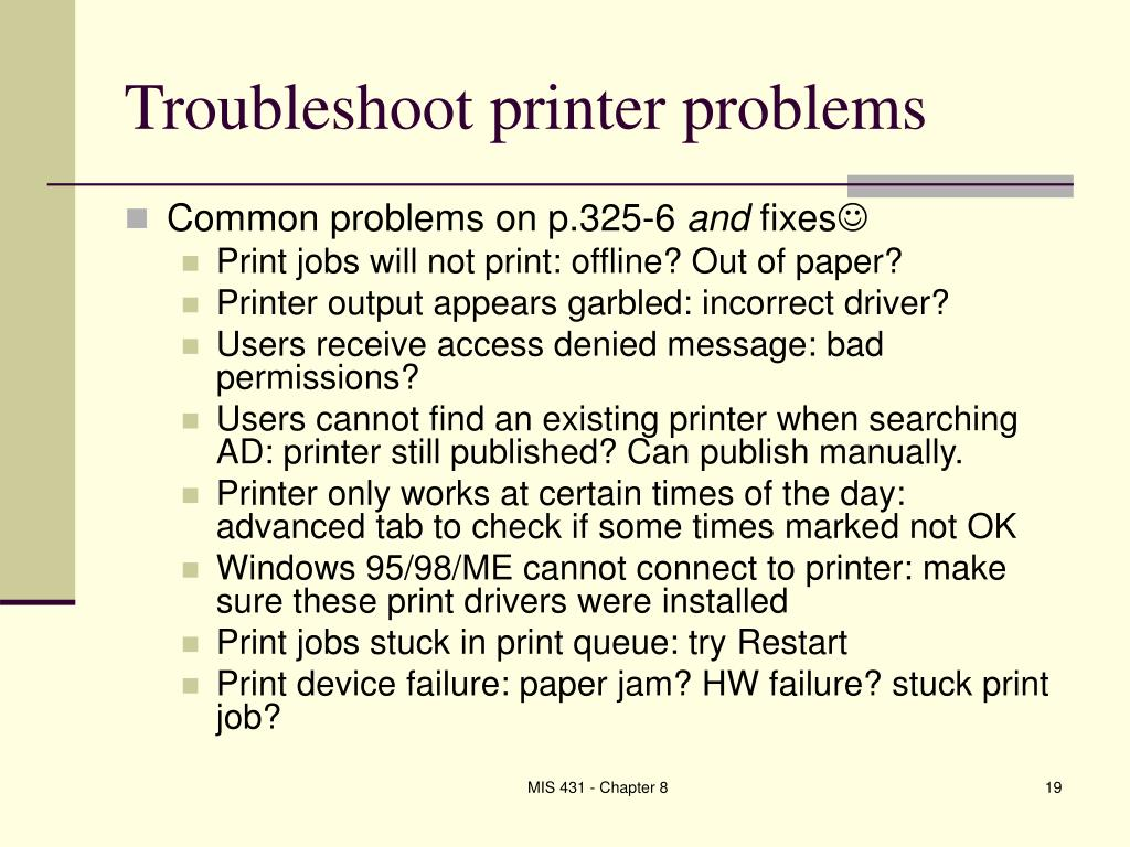 Troubleshoot printer problems