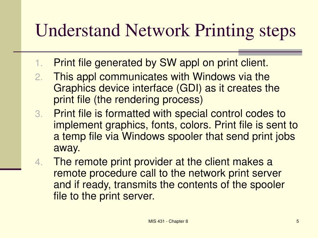 Understand Network Printing steps