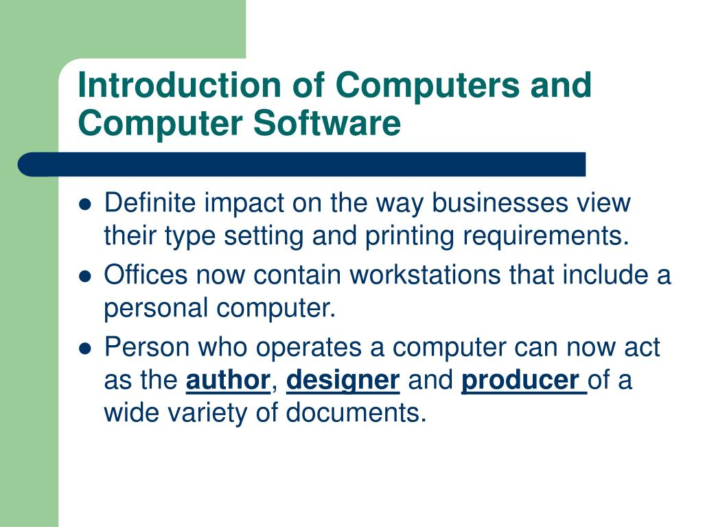 Introduction of Computers and Computer Software
