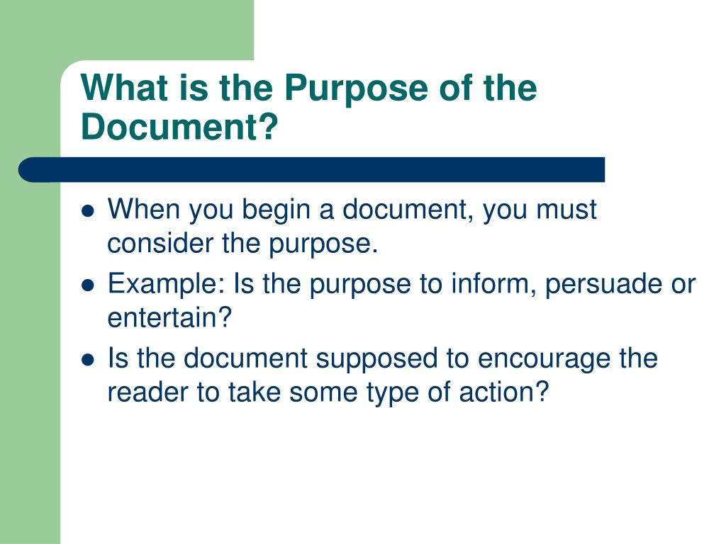 What is the Purpose of the Document?