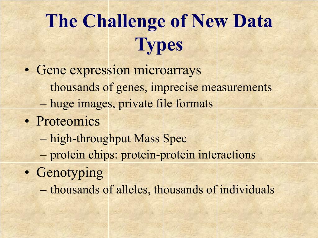 The Challenge of New Data Types