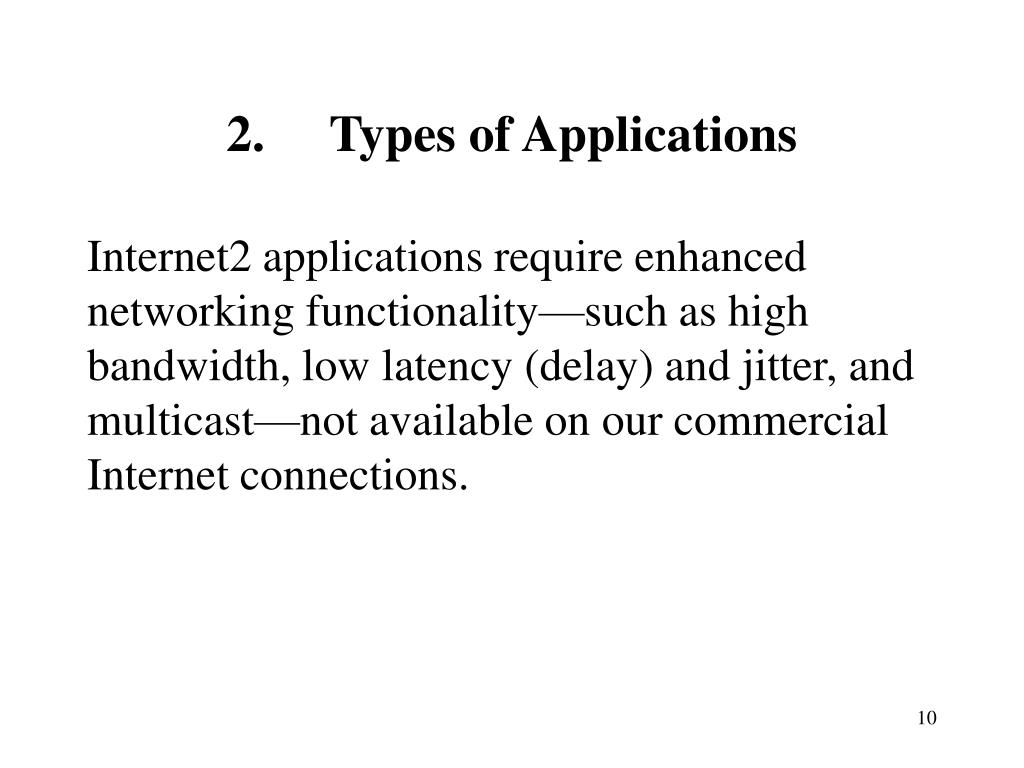 2.	Types of Applications