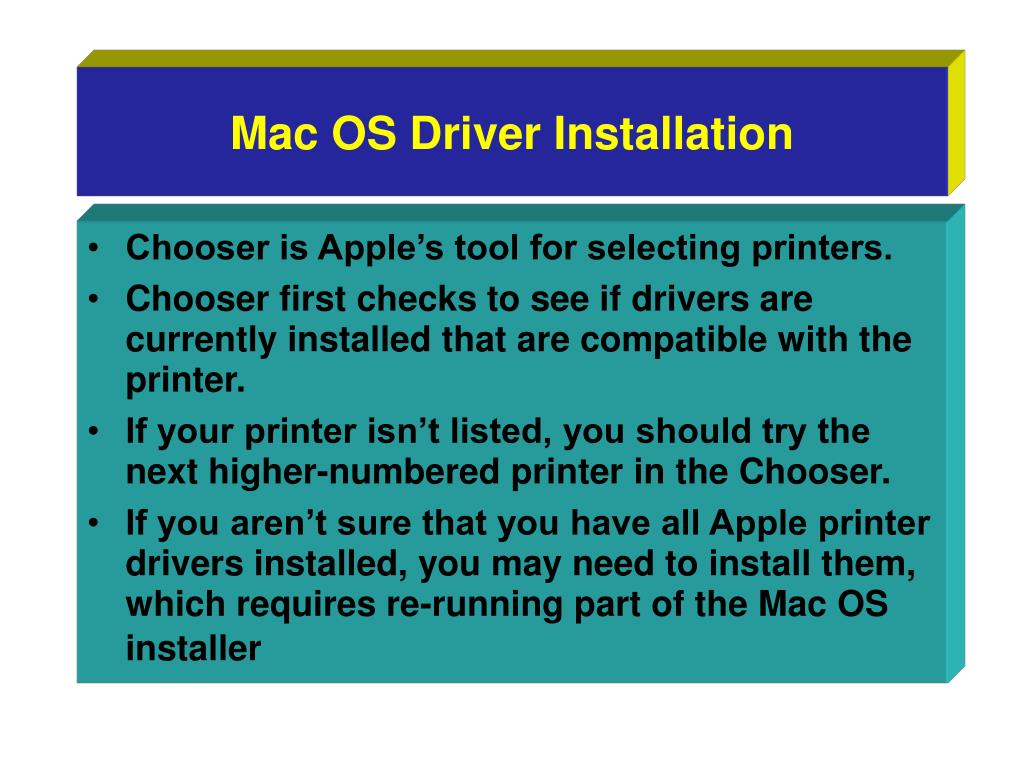 Mac OS Driver Installation