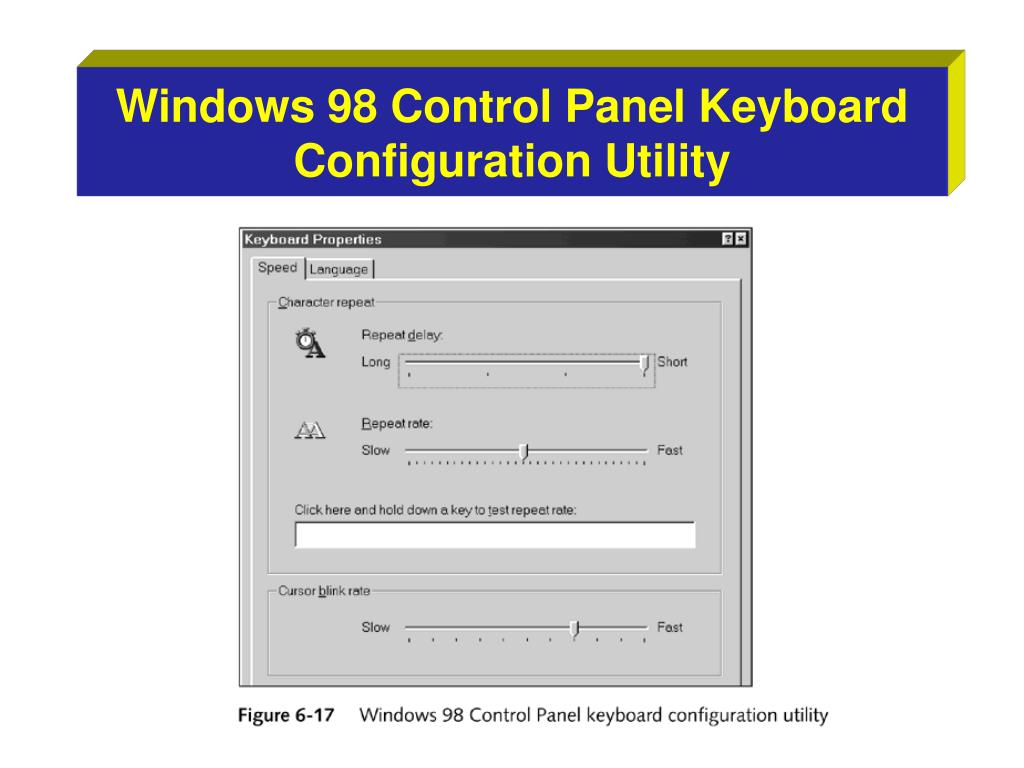Windows 98 Control Panel Keyboard Configuration Utility